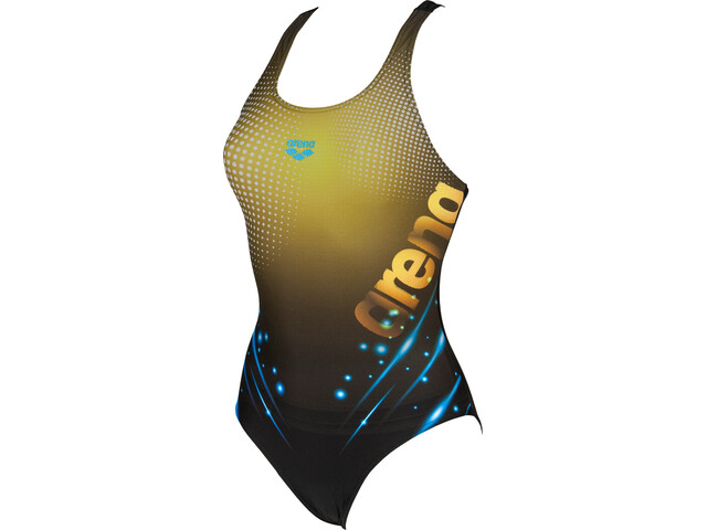arena Daydreamer One Piece Badpak V Back Dames, black/yellow star